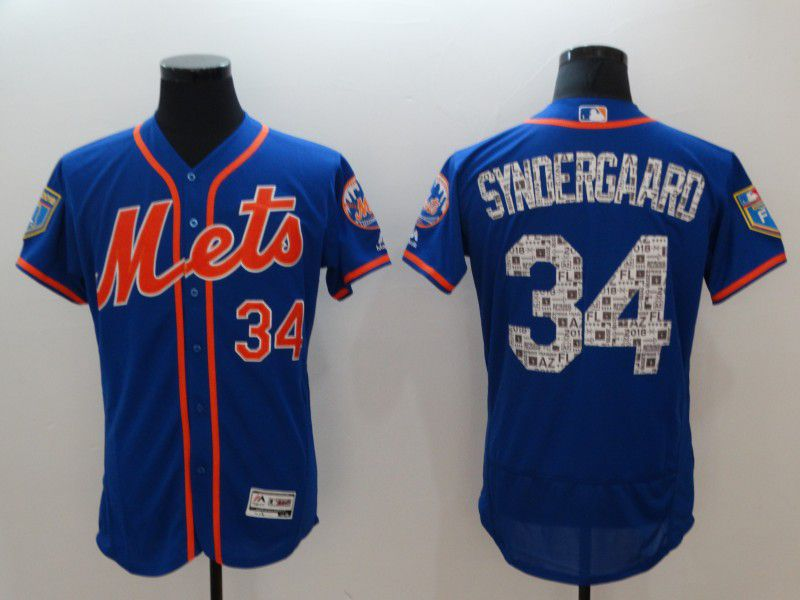 Men New York Mets 34 Syndergaard Blue Elite Spring Edition MLB Jerseys