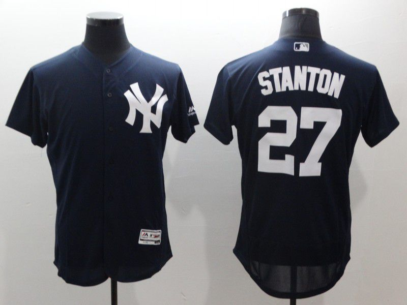 Men New York Yankees 27 Stanton Blue Elite MLB Jerseys