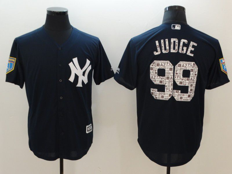 Men New York Yankees 99 Judge Blue Game Spring Edition MLB Jerseys