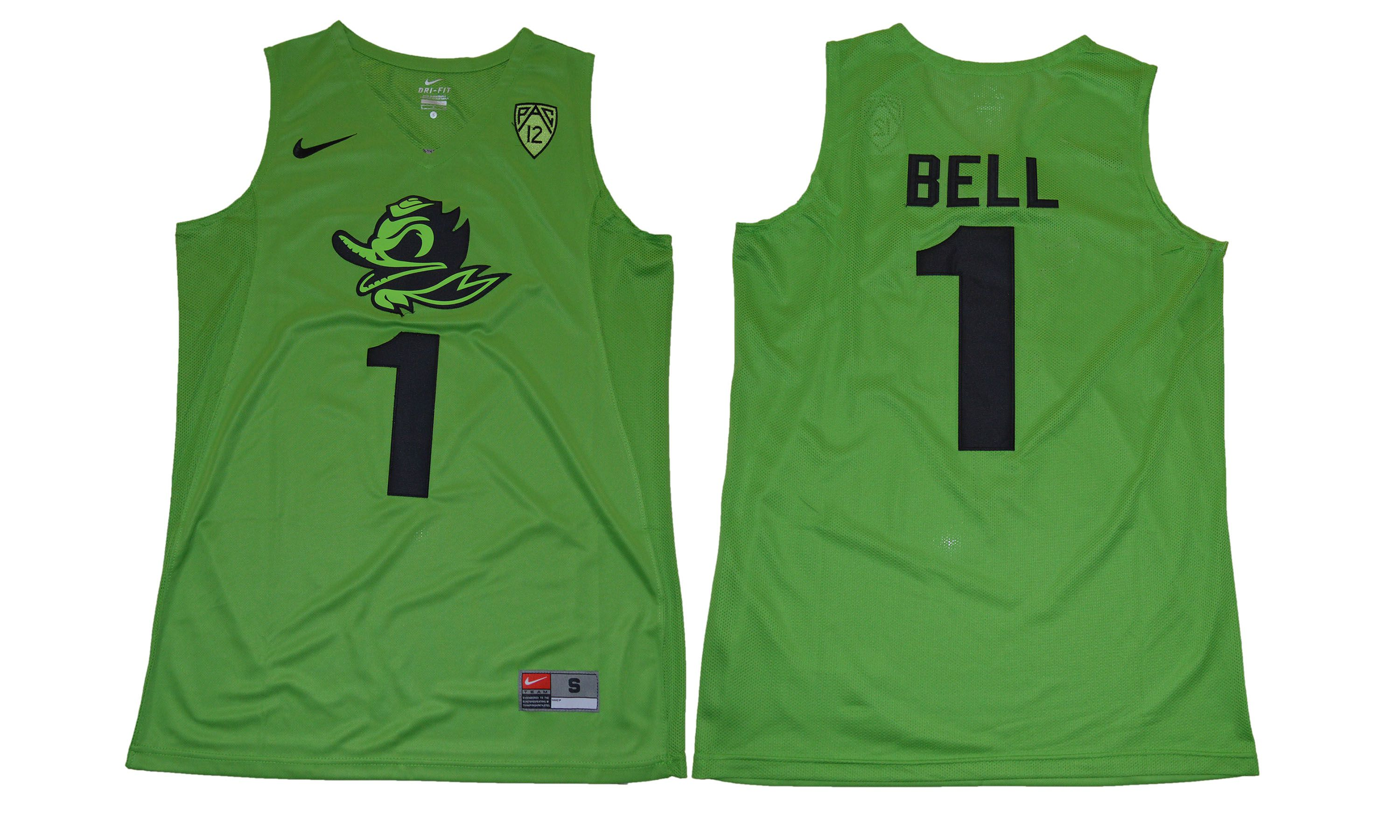 Men Oregon Ducks 1 Bell Green NCAA Jerseys