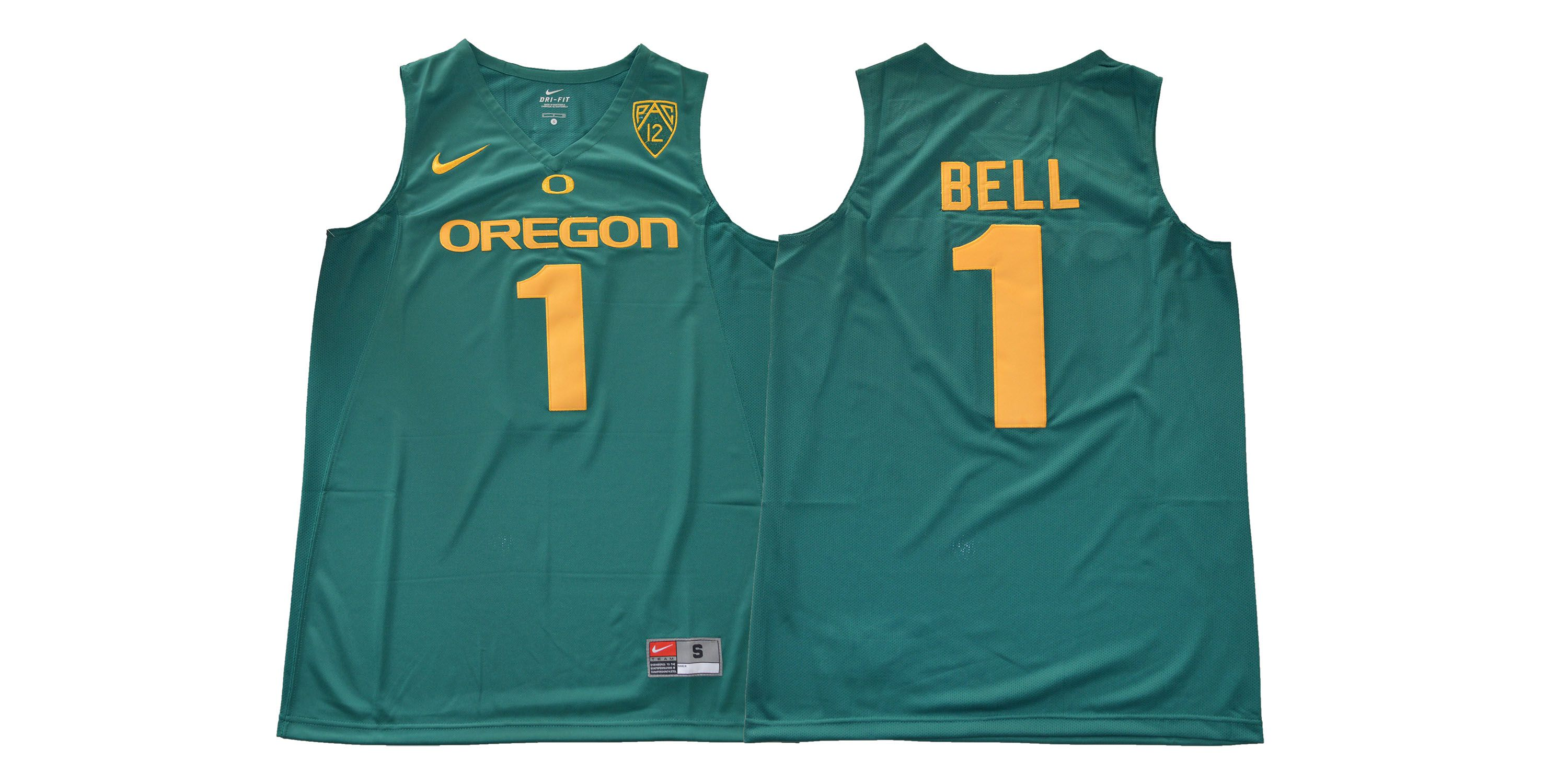 Men Oregon Ducks 1 Bell Green NCAA Jerseys1