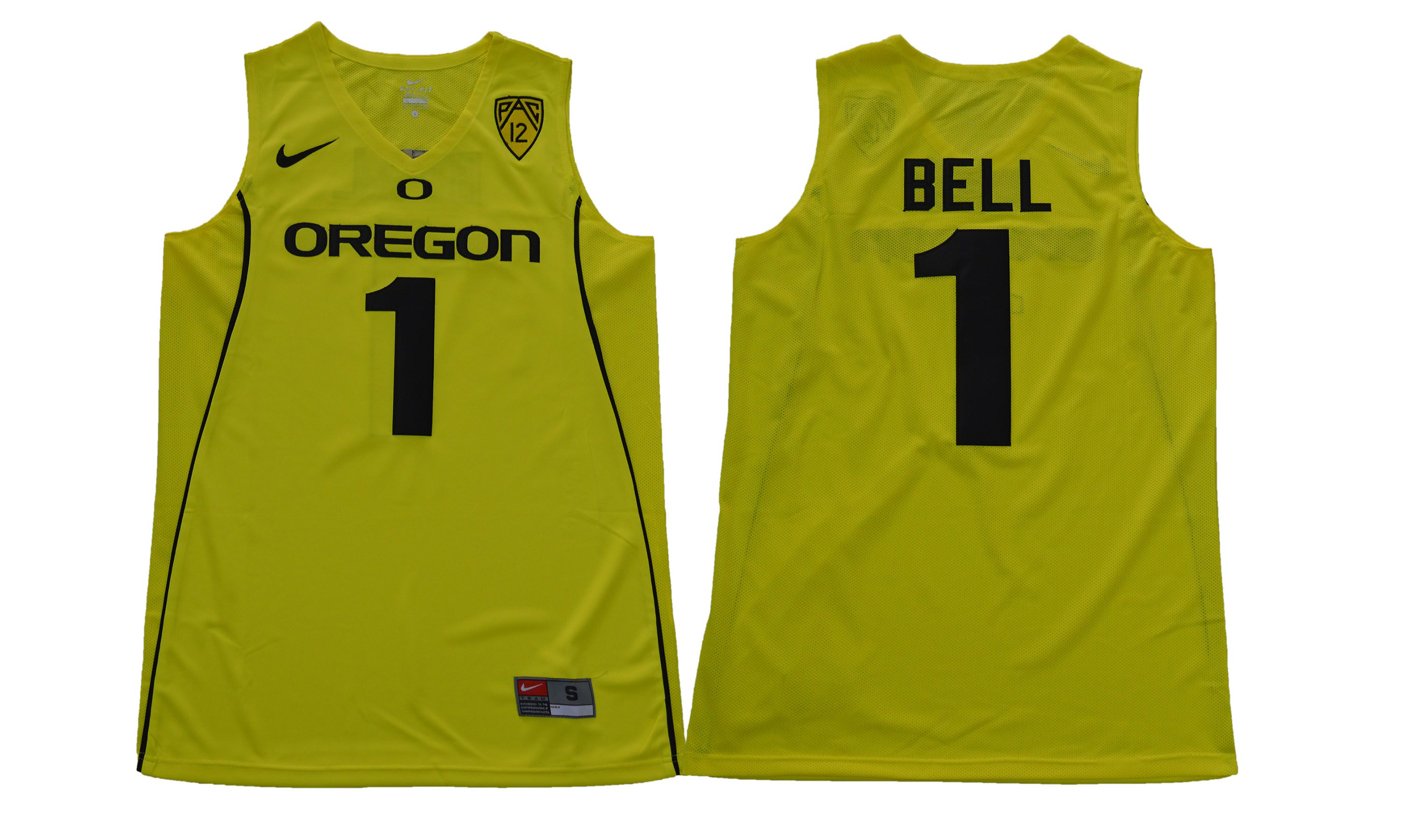 Men Oregon Ducks 1 Bell Yellow NCAA Jerseys
