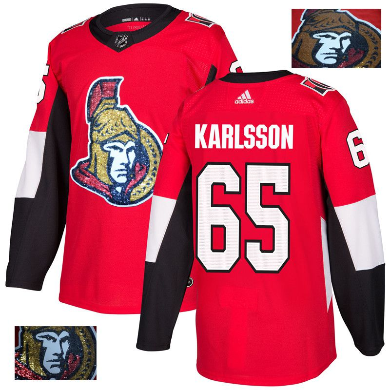 Men Ottawa Senators 65 Karlsson Red Gold embroidery Adidas NHL Jerseys