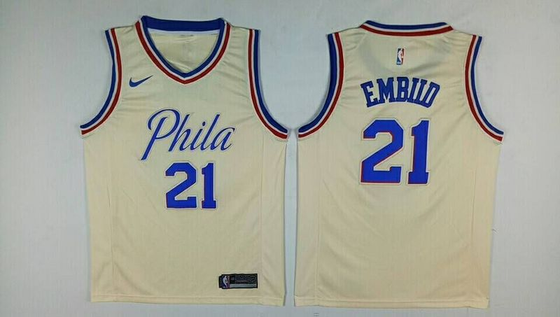 Men Philadelphia 76ers 21 Embiid Gream City Edition Nike NBA Jerseys