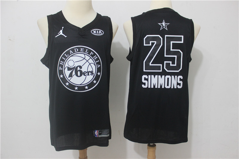 Men Philadelphia 76ers 25 Simmons Black 2108 All Stars NBA Jerseys