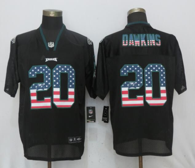 Men Philadelphia Eagles 20 Dawklns USA Flag Fashion Black NEW Nike Elite NFL Jerseys