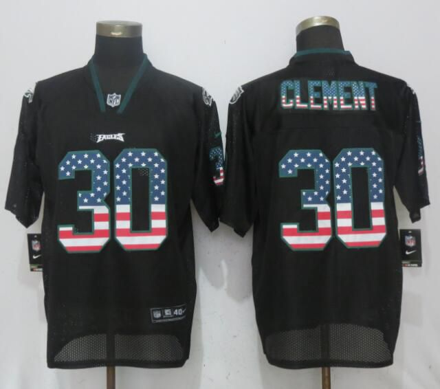 Men Philadelphia Eagles 30 Clement USA Flag Fashion Black NEW Nike Elite NFL Jerseys