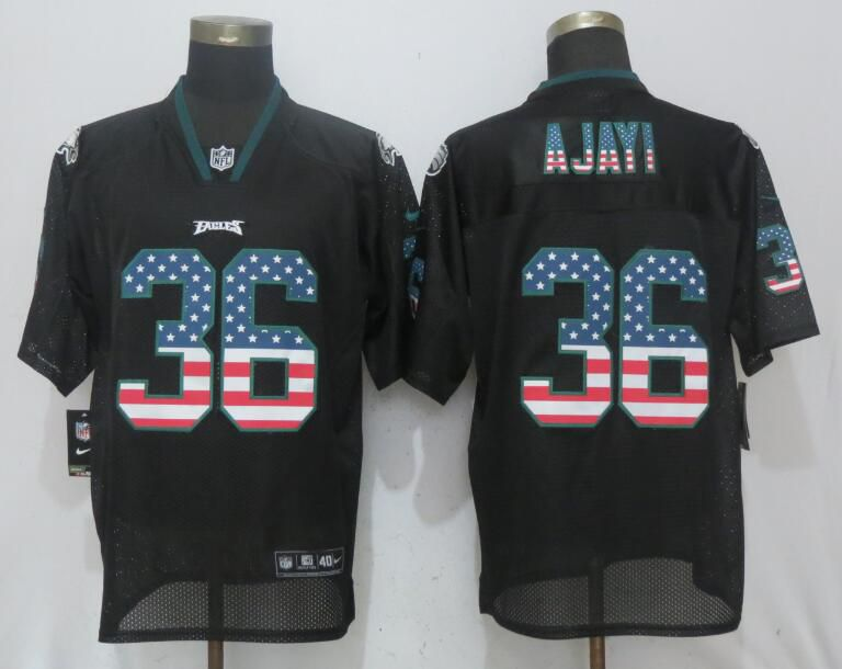 Men Philadelphia Eagles 36 Ajayi USA Flag Fashion Black NEW Nike Elite NFL Jerseys