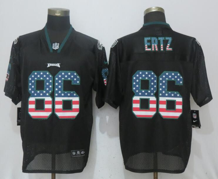 Men Philadelphia Eagles 86 Ertz USA Flag Fashion Black NEW Nike Elite NFL Jerseys