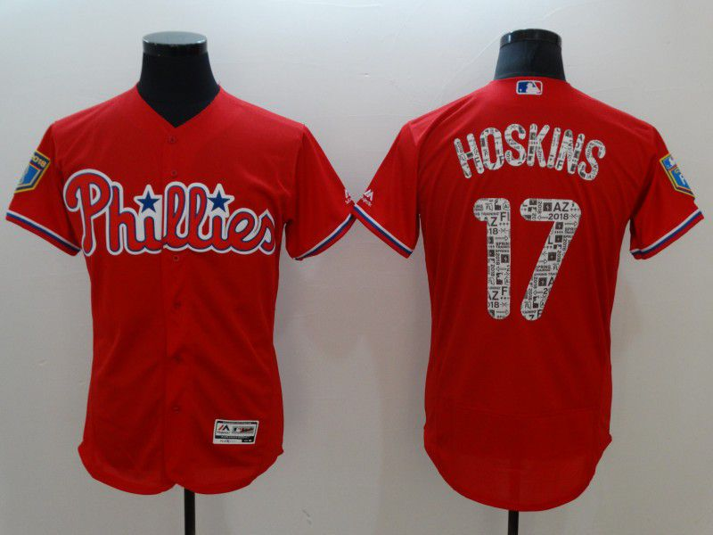 Men Philadelphia Phillies 17 Hoskins Red Elite Spring Edition MLB Jerseys