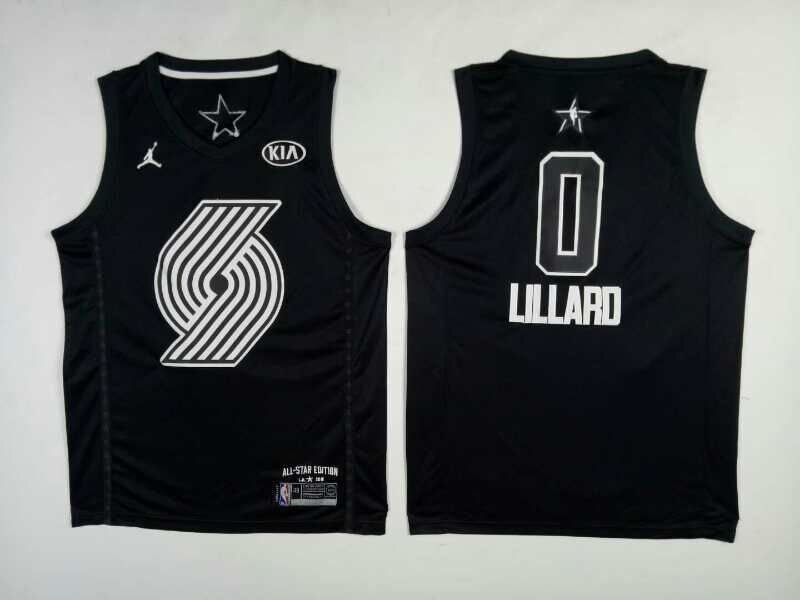Men Portland Trail Blazers 0 Lillard Black 2108 All Stars NBA Jerseys