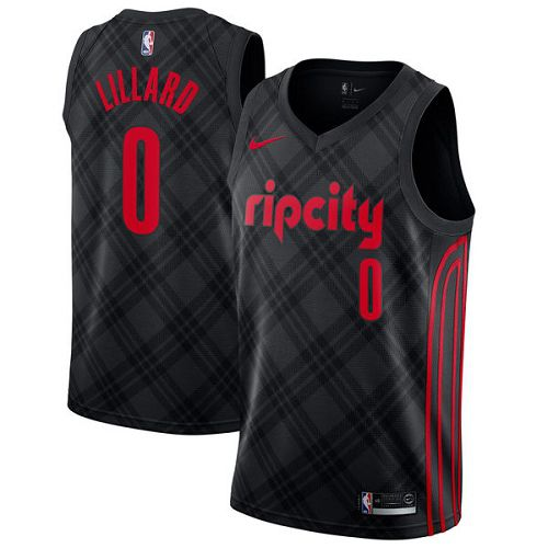 Men Portland Trail Blazers 0 Lillard Black City Edition Nike NBA Jerseys