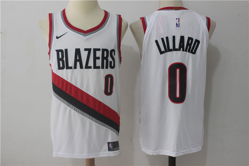 Men Portland Trail Blazers 0 Lillard White Game Nike NBA Jerseys