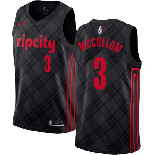 Men Portland Trail Blazers 3 Mccollum Black City Edition Nike NBA Jerseys