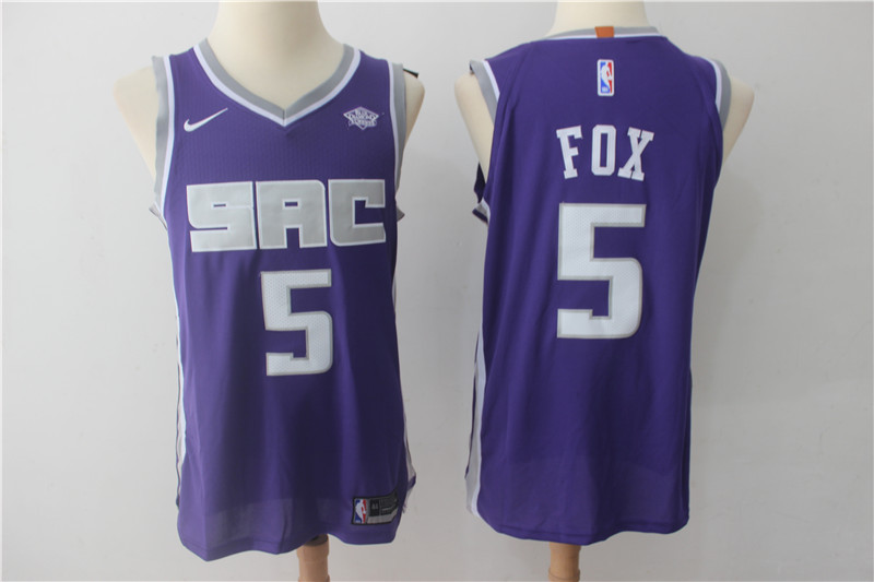 Men Sacramento Kings 5 Fox Purple Game Nike NBA Jerseys