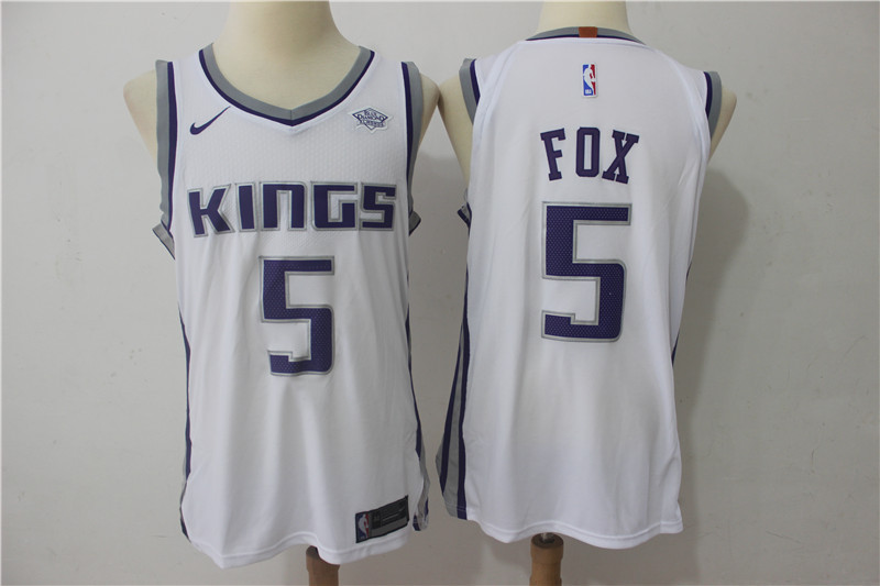 Men Sacramento Kings 5 Fox White Game Nike NBA Jerseys