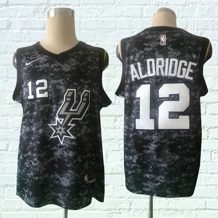 Men San Antonio Spurs 12 Aldridge Black City Edition Nike NBA Jerseys