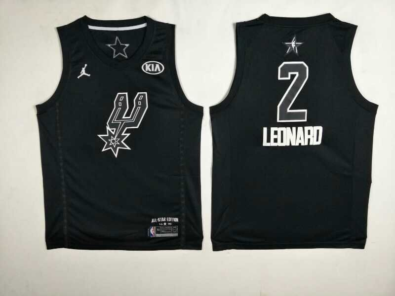 Men San Antonio Spurs 2 Leonard Black 2108 All Stars NBA Jerseys