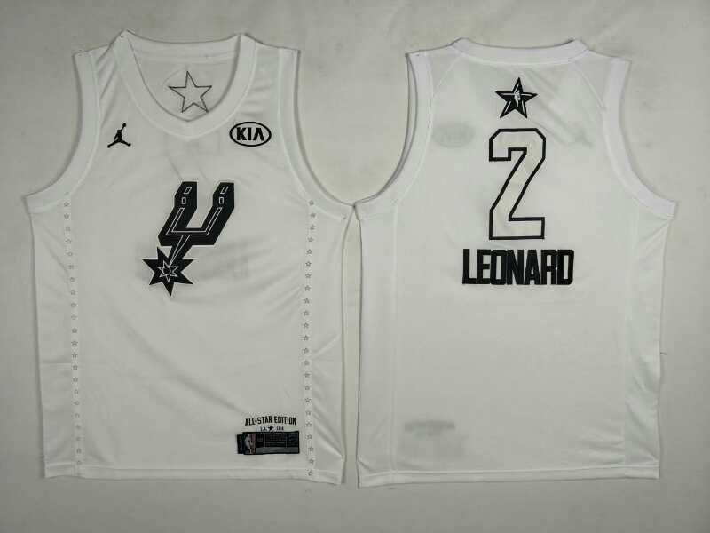Men San Antonio Spurs 2 Leonard White 2108 All Stars NBA Jerseys
