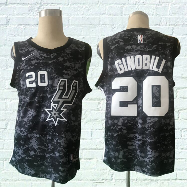 Men San Antonio Spurs 20 Ginobili Black City Edition Nike NBA Jerseys