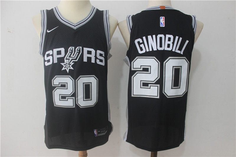 Men San Antonio Spurs 20 Ginobili Black Game Nike NBA Jerseys