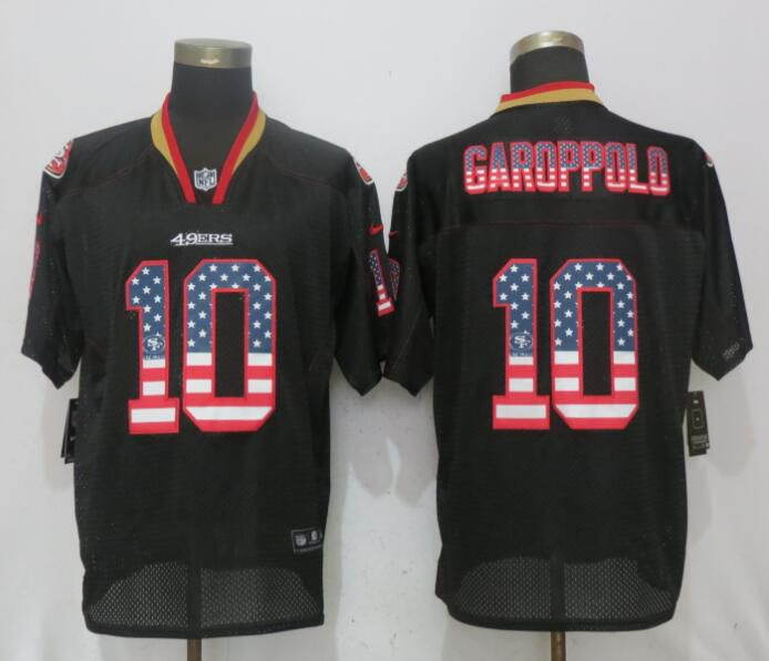 Men San Francisco 49ers 10 Garoppolo USA Flag Fashion Black NEW Nike Elite NFL Jerseys