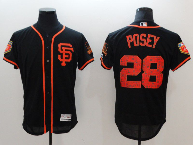 Men San Francisco Giants 28 Posey Black Elite Spring Edition MLB Jerseys