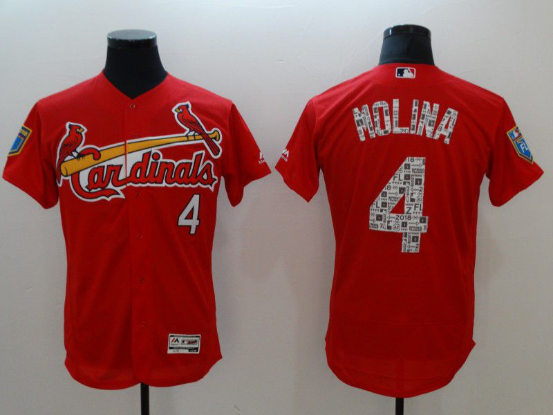 Men St.Louis Cardinals 4 Molina Red Elite Spring Edition MLB Jerseys
