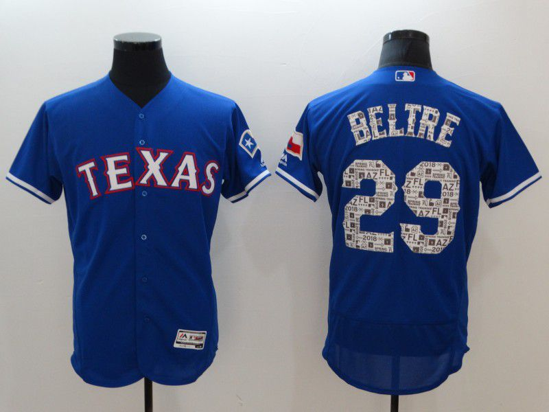 Men Texas Rangers 29 Beltre Blue Elite Spring Edition MLB Jerseys
