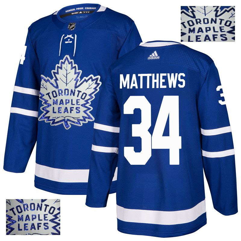 Men Toronto Maple Leafs 34 Matthews Blue Gold embroidery Adidas NHL Jerseys