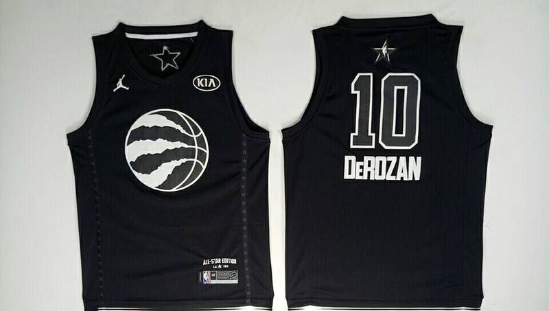 Men Toronto Raptors 10 Derozan Black 2108 All Stars NBA Jerseys
