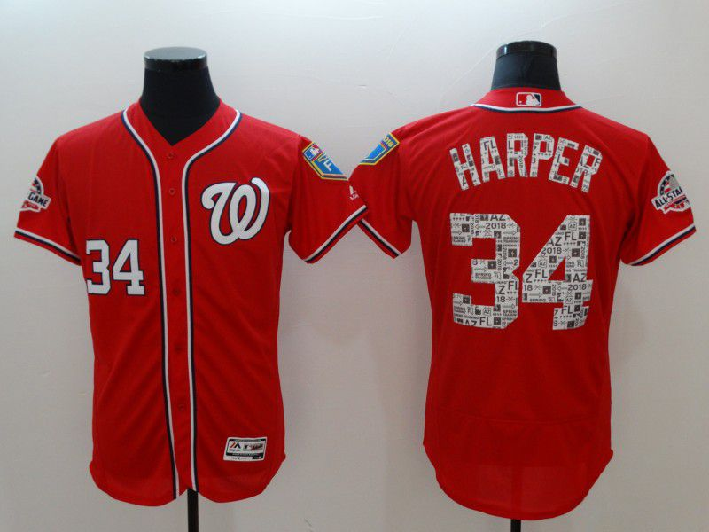 Men Washington Nationals 34 Harper Red Elite Spring Edition MLB Jerseys