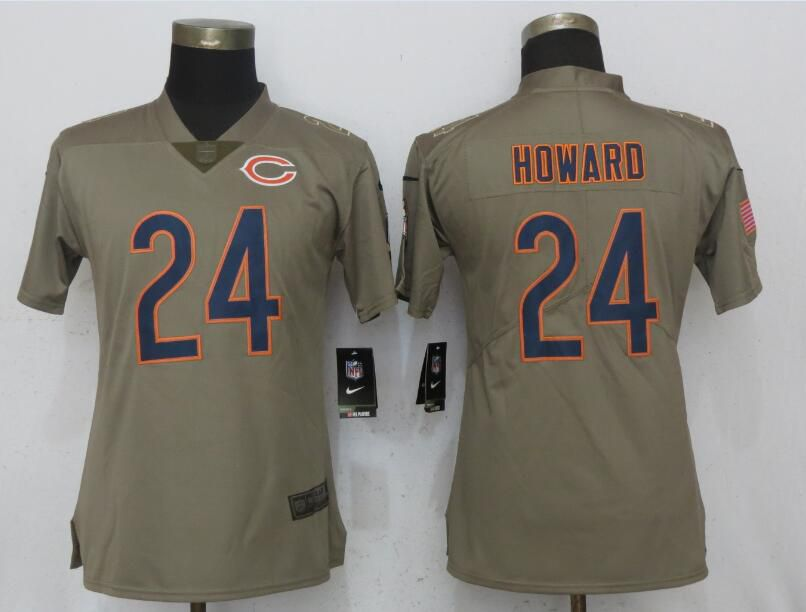 Women Chicago Bears 24 Howard Olive Salute To Service New Nike Elite NFL Jerseys