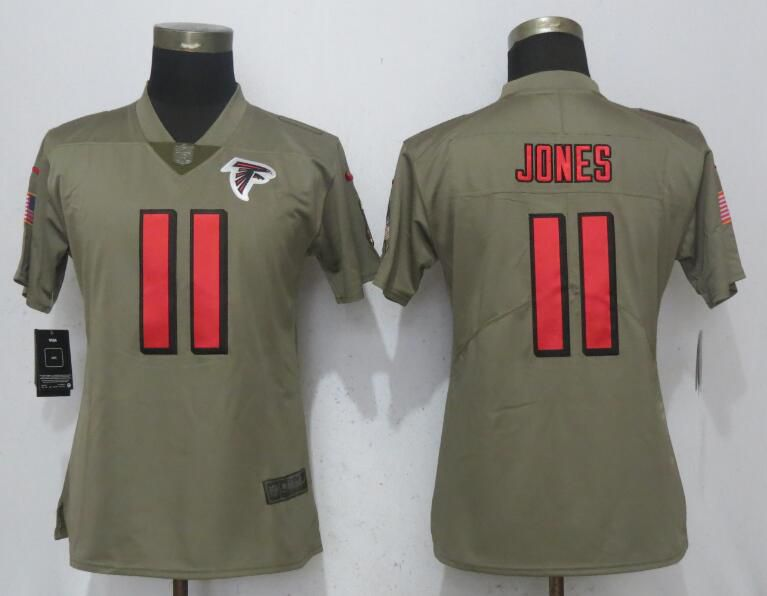 Women Atlanta Falcons 11 Jones Olive Salute To Service New Nike Elite NFL Jerseys