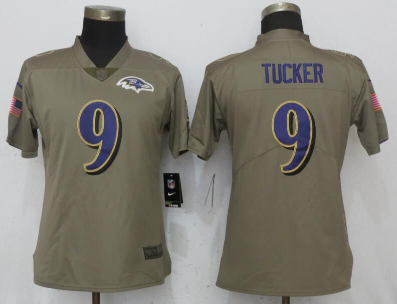 Women Baltimore Ravens 9 Tucker Olive Salute To Service New Nike Elite NFL Jerseys