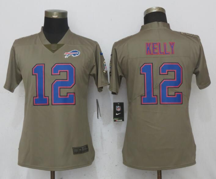 Women Buffalo Bills 12 Kelly Olive Salute To Service New Nike Elite NFL Jerseys