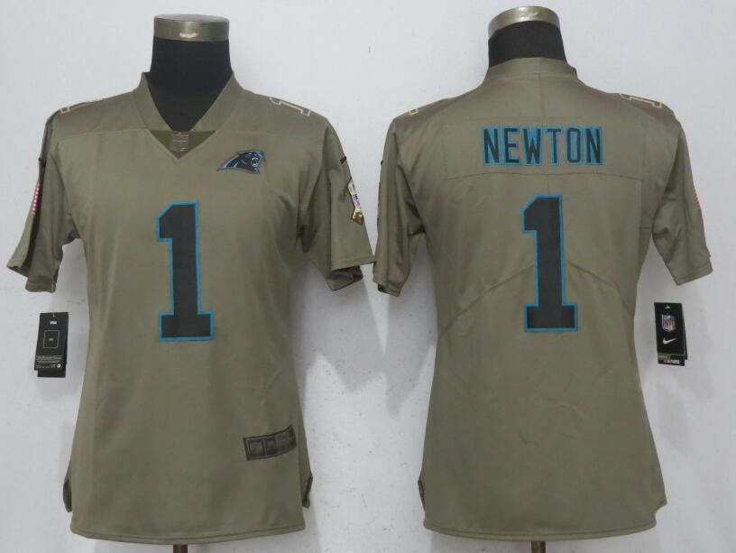 Women Carolina Panthers 1 Newton Olive Salute To Service Nike Elite NFL Jerseys