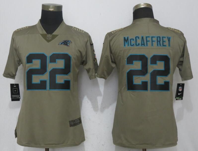Women Carolina Panthers 22 McCaffrey Olive Salute To Service Nike Elite NFL Jerseys