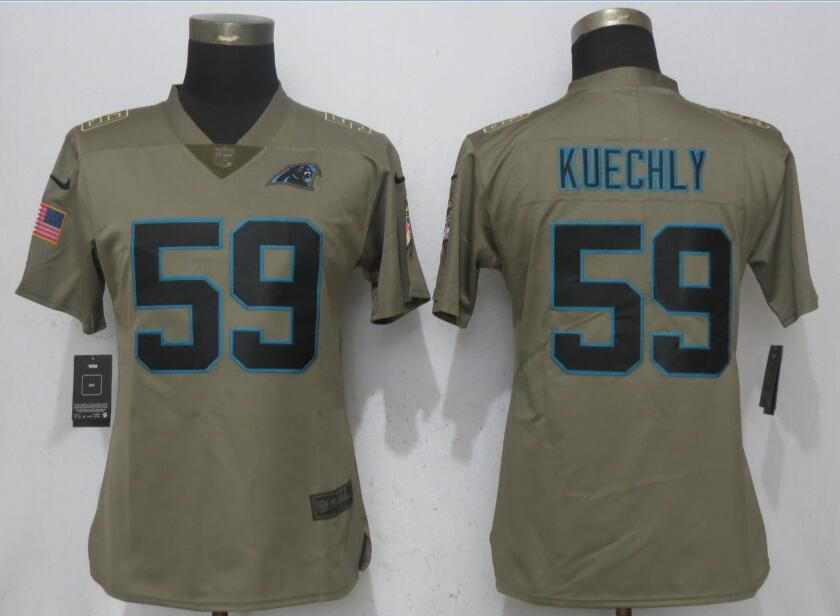 Women Carolina Panthers 59 Kuechly Olive Salute To Service Nike Elite NFL Jerseys