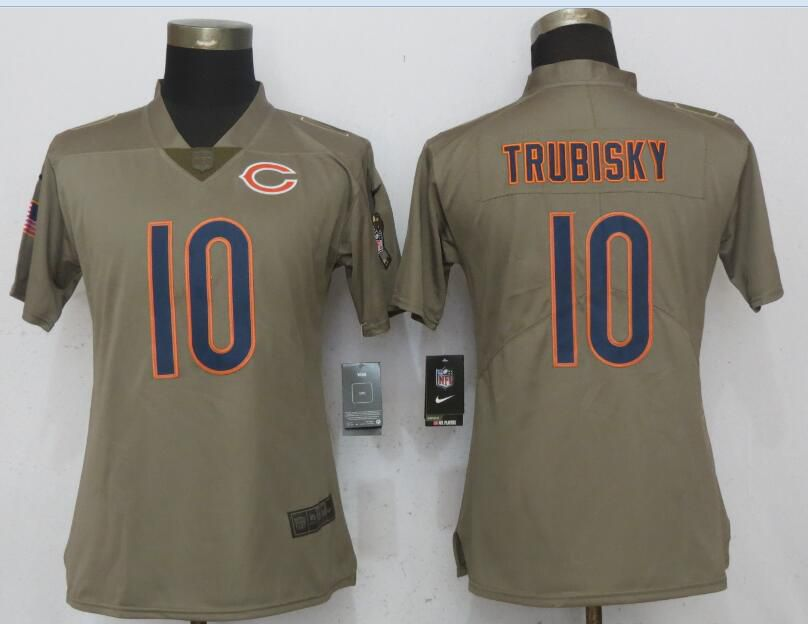 Women Chicago Bears 10 Trubisky Olive Salute To Service New Nike Elite NFL Jerseys