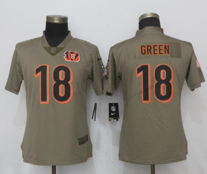 Women Cincinnati Bengals 18 Green Olive Salute To Service New Nike Elite NFL Jerseys