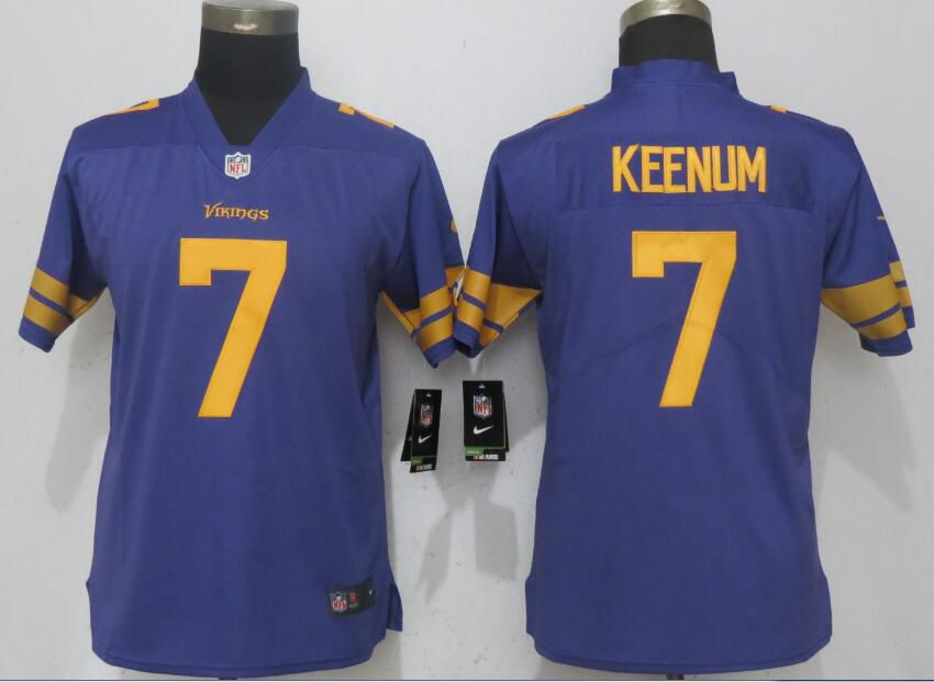 Women Dallas Vikings 7 Keenum Navy Purple Color Rush NEW Nike Elite Playey NFL Jerseys