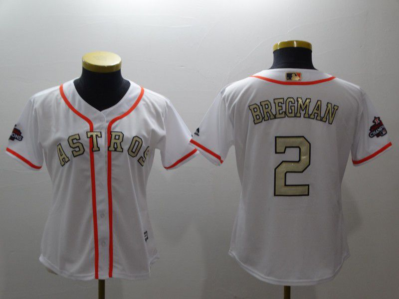 Women Houston Astros 2 Bregman White Gold version MLB Jerseys