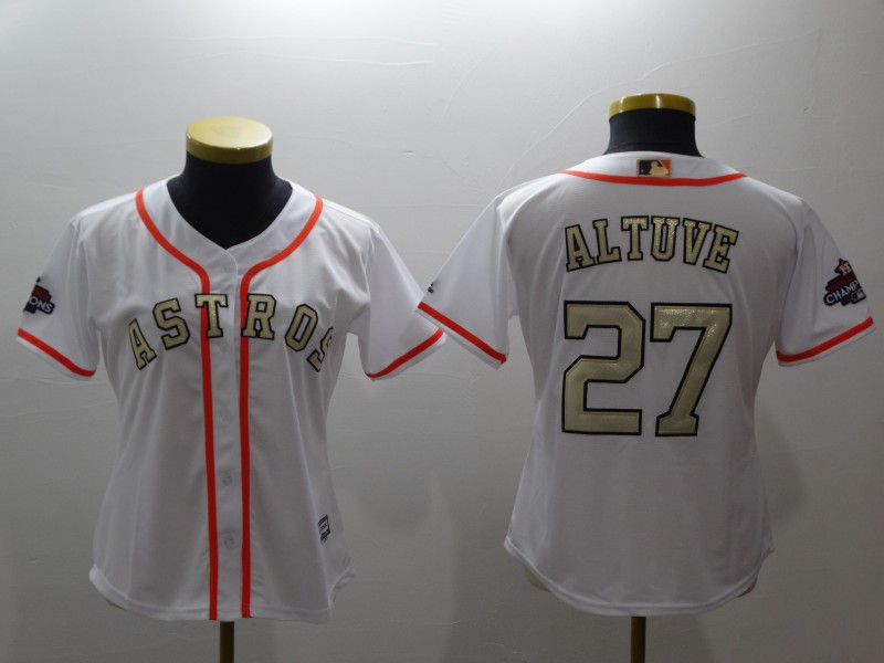 Women Houston Astros 27 Altuve White Gold version MLB Jerseys