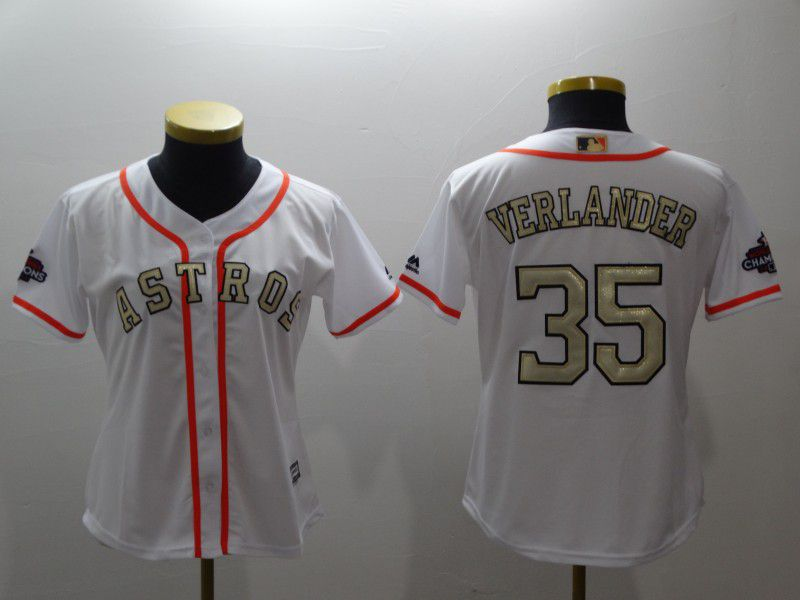 Women Houston Astros 35 Verlander White Gold version MLB Jerseys
