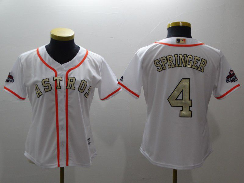 Women Houston Astros 4 Springer White Gold version MLB Jerseys