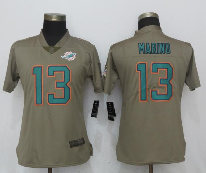Women Miami Dolphins 13 Marino Olive Salute To Service New Nike Elite NFL Jerseys