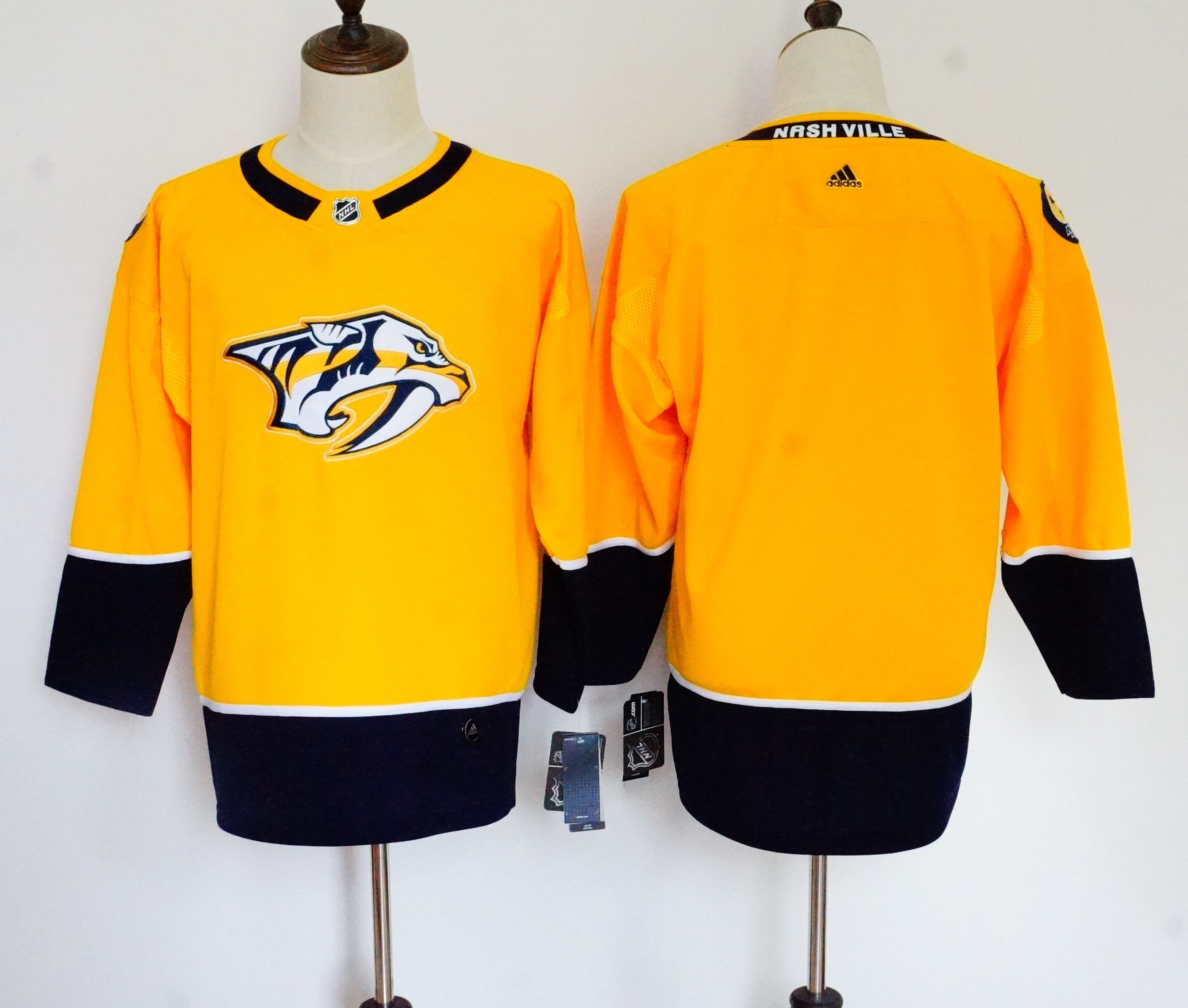 Women Nashville Predators Blank Yellow Hockey Stitched Adidas NHL Jerseys