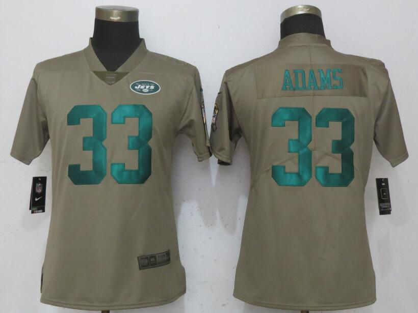 Women New York Jets 33 Adams Olive Salute To Service NFL Jerseys