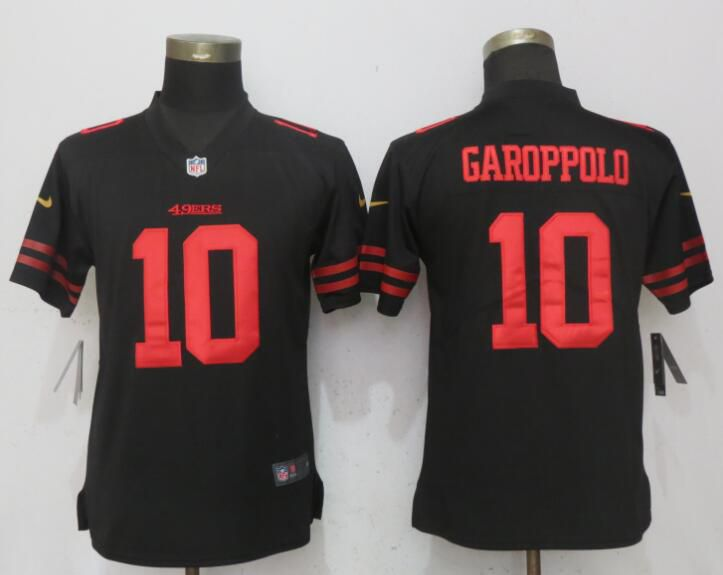 Women San Francisco 49ers 10 Garoppolo Black Vapor Untouchable NFL Jerseys